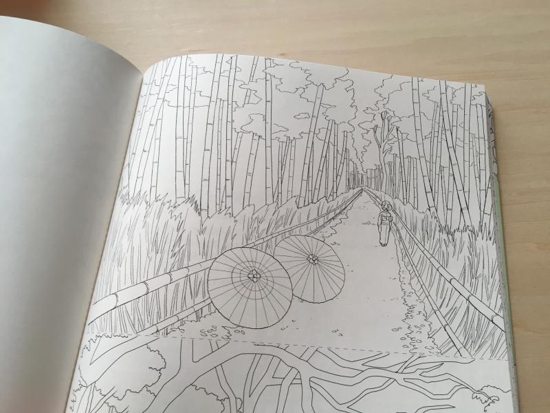 心のコリがスーッとほぐれる大人のぬり絵 日本の風景の線画イラスト中
