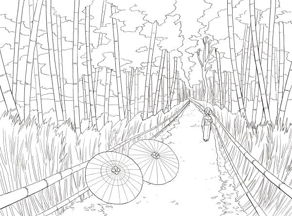 心のコリがスーッとほぐれる大人のぬり絵 日本の風景の線画イラスト